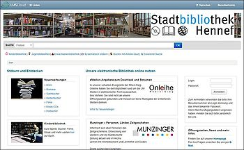 Screenshot der Website des Bibliothekskatalogs